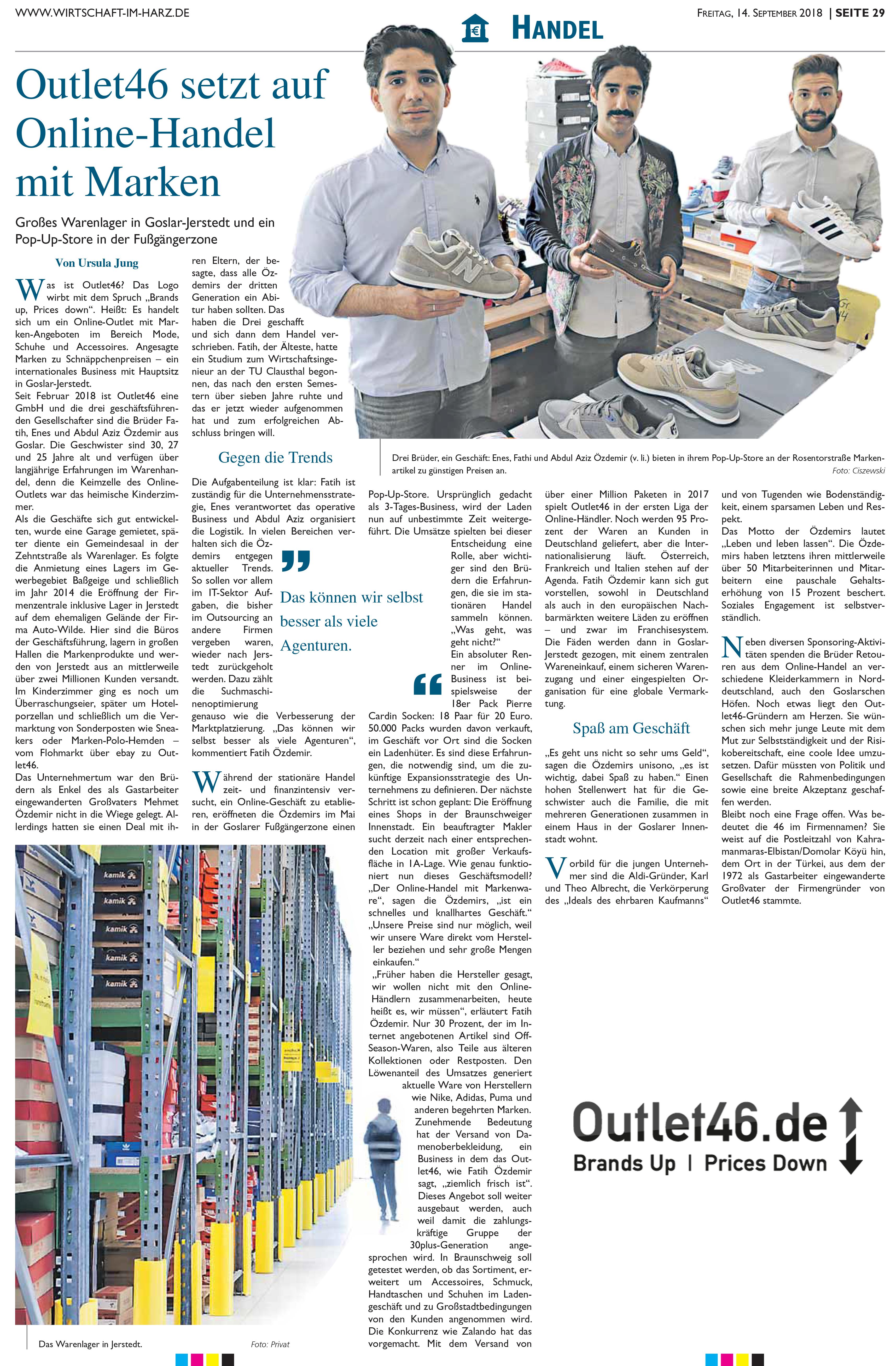 Bericht von WIRTSCHAFT-IM-HARZ.DE über Outlet46